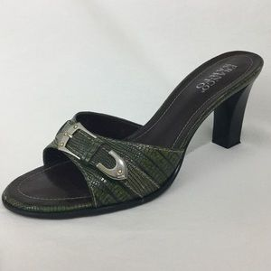 Franco Sarto Dk Grn Leather Slip on Open Toe Heel